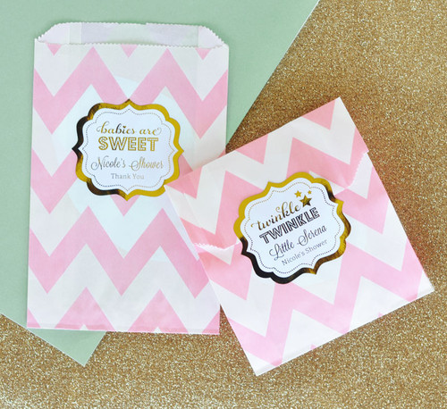 Baby Shower Favor Bags   Candy Buffet Bags   Pink And Gold Goodie Bags    Cookie