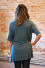 Teal short sleeve high low tunic back view.