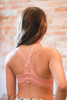 Delicately Stunning Y-Back Lace Bralette in Blush back view.