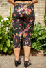 Flowered Vines Floral Printed Butter Soft Cropped Leggings back view.