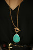 Turquoise and Gold Teardrop Pendant Toggle Necklace