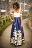 Spring Excitement Ivory and Navy Floral Gown front view.