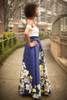 Spring Excitement Ivory and Navy Floral Gown side view.