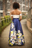 Spring Excitement Ivory and Navy Floral Gown back view.