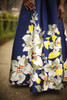 Spring Excitement Ivory and Navy Floral Gown detail view.