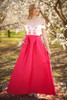 My Oh My Ivory and Sangria Floral Embroidered Gown with Pockets front view.
