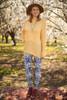 Navy and White Elephant Printed Butter Soft Leggings with Yoga Band full body front view.