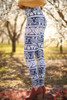 Navy and White Elephant Printed Butter Soft Leggings with Yoga Band side view.