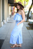 Denim Doll Strapless Denim Jumpsuit side view.