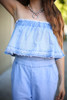 Denim Doll Strapless Denim Jumpsuit detail view.