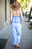 Denim Doll Strapless Denim Jumpsuit back view.