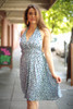 Pretty in Polka Dot Faded Blue Halter Dress front view.