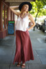 Blissful in Burgundy Cotton Palazzo Pants full body front view.