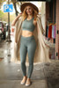 Activated Athletics Teal Blue Mesh Pocket Leggings full body front view.