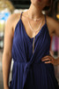 Ride the Waves Navy Draped Jumpsuit with Pockets front detail view.