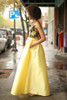 Yellow Beauty Floral Embroidered Satin Gown with Pockets side view.