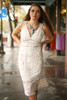 Dressed to the Nines Ivory Lace Sleeveless Bodycon Dress front view.