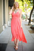 Goddess in Sunkist Chiffon Maxi Dress front view.