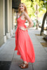 Goddess in Sunkist Chiffon Maxi Dress side view.