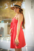 Love In Hot Coral Sleeveless Tie Front Mini Dress side view.