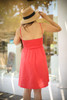 Love In Hot Coral Sleeveless Tie Front Mini Dress back view.