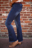 Beautifully and Vertically Lined Flared Jeans side view.
