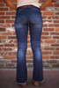 Beautifully and Vertically Lined Flared Jeans back view.