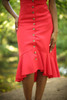 Can't Catch Me Now Red Button Down Midi Dress bottom detail view.