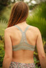 Delicately Stunning Y-Back Lace Bralette in Silver Gray back view.