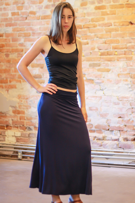 Navy maxi skirt front view.
