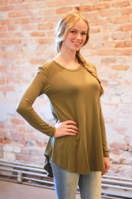 Light olive long sleeve top front view.