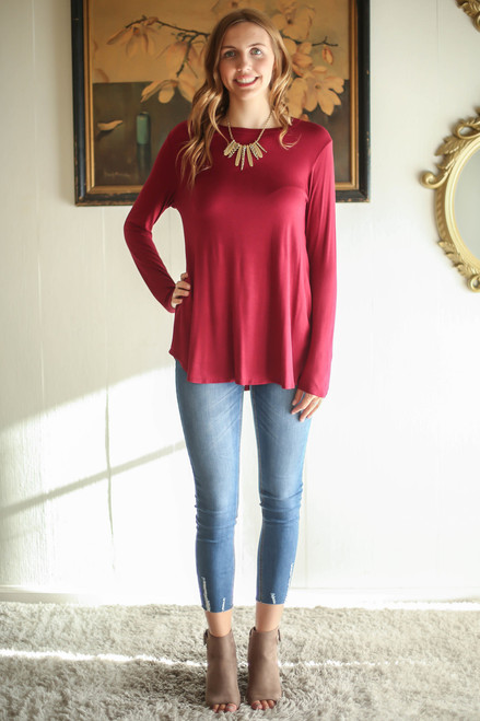 Simply Basics Wine Long Sleeve Top full body front view.