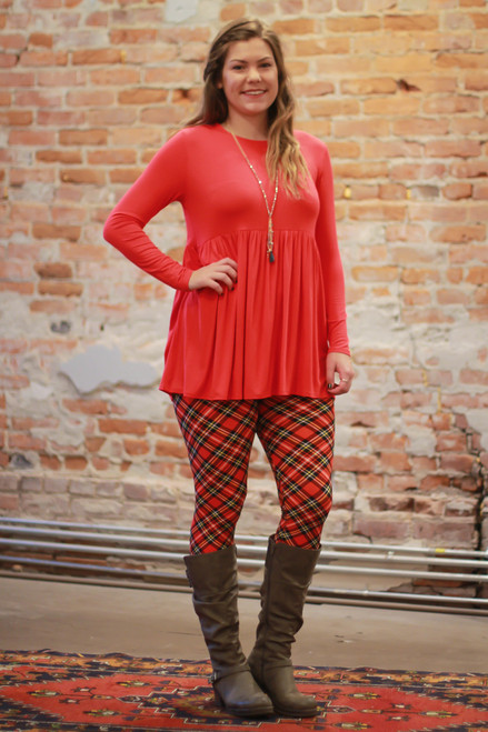 Simply Basics Red Long Sleeve Ruffle Tunic full body front view.