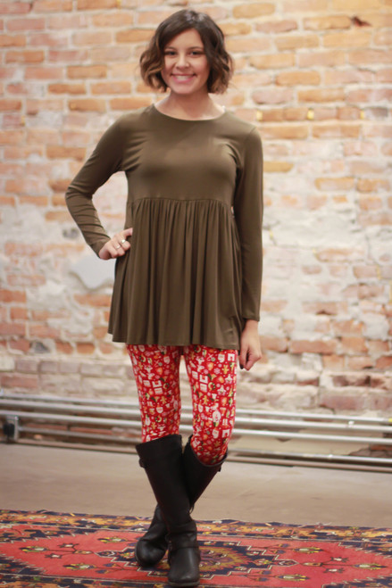 Simply Basics Olive Long Sleeve Ruffle Tunic full body front view.