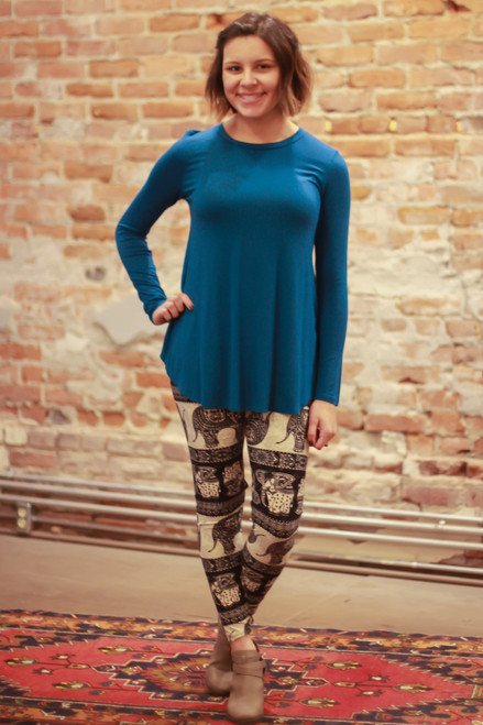 Simply Basics Teal Long Sleeve Top full body front view.