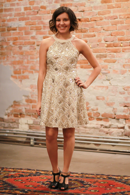 Sequins and Sparkle Cream High Neck A-Line Dress full body front view.