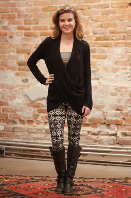 Simply Basics Black Long Sleeve Wrap Tunic full body front view.