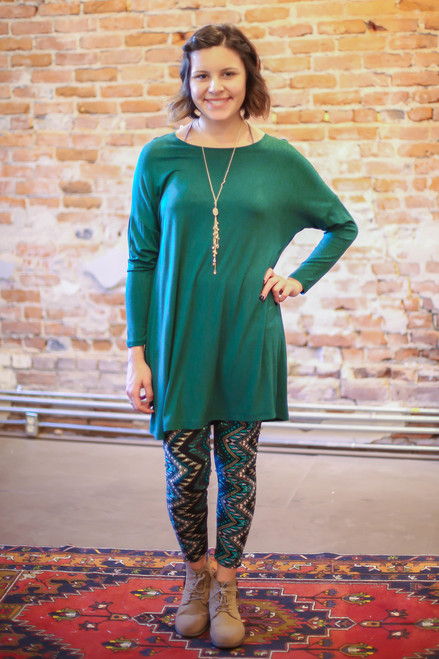 Simply Basics Dark Green Long Sleeve Tunic Dress full body front view.