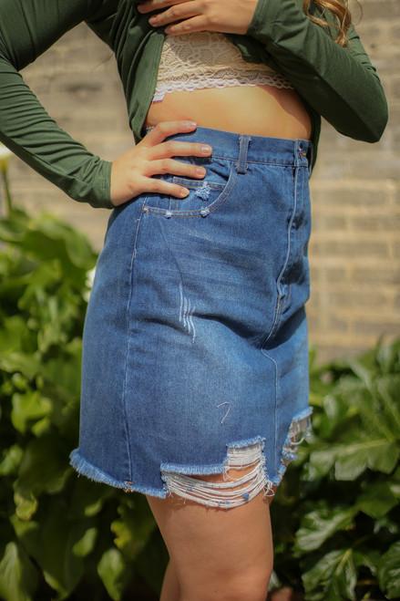 Denim Dreams Distressed Denim Pencil Skirt side view.