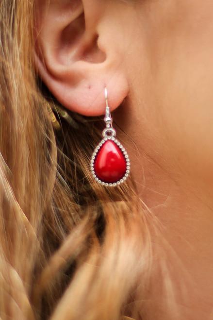 Crystal Swirl and Teardrop Earrings in Red