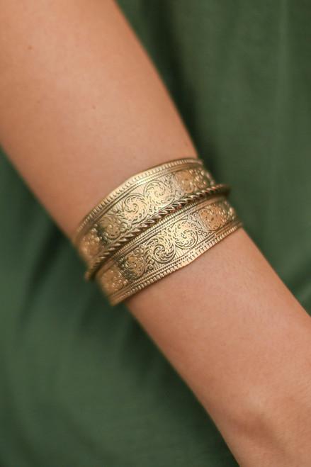 Gold Textured Filigree Metal Cuff Bracelet