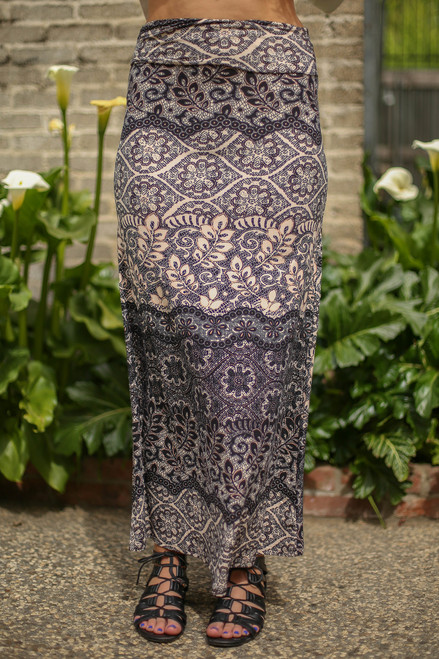 Gray Goddess Floral Printed Maxi Skirt front view.