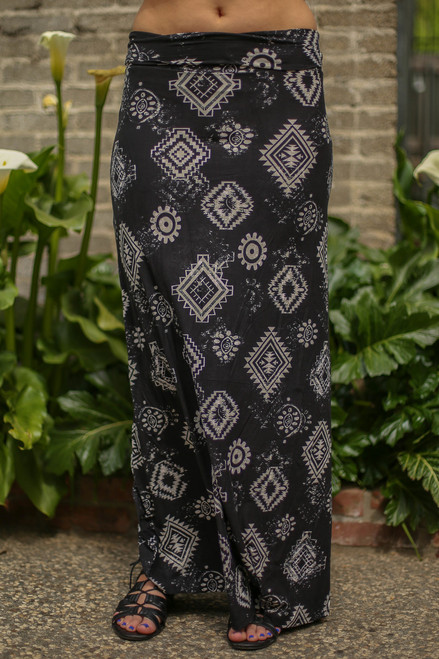 Black and White Aztec Printed Maxi Skirt front view.