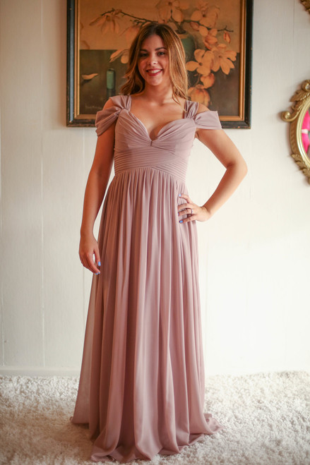 Elegant Woman Beige Double Off Shoulder Maxi Dress with Pleated Bodice front view.