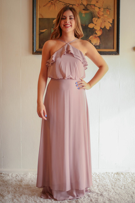 Beyond Beige Taupe Beige High Neck Column Dress with Ruffle Bodice front view.