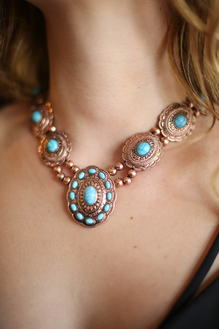 Turquoise and Burnished Copper Floral Etched Statement Necklace