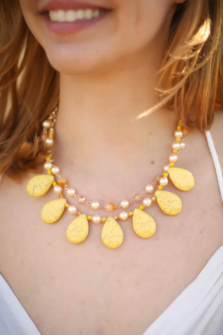 Yellow Teardrop Double Row Dangle Necklace