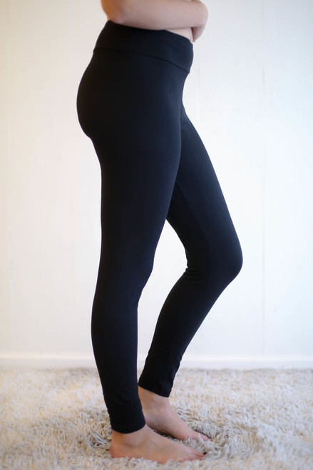 Black Butter Soft Leggings with Yoga Band side view.