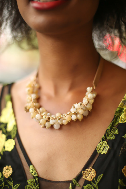 Natural Pink Cluster Statement Collar Necklace front view.