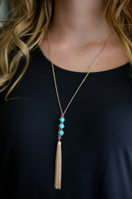Turquoise and Gold Fringe Drop Pendant Necklace